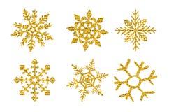Set six Gold glitter texture snowflake isolated on white background. Vector illustration stock illustration