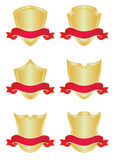 Set of six gold shields. With banners Royalty Free Stock Photography