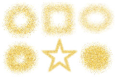 Set of six golden sand glitter effect good for banners, greeting carts.. Set of star, square and circles. EPS10 Royalty Free Stock Photos