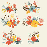 Set of six graphic floral design Royalty Free Stock Photos