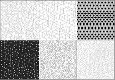 Set of six gray and white abstract background with circles and triangles and lines and dots. Set of six backgrounds with gray and white tones with pointers and vector illustration
