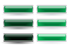 Set of six green buttons Royalty Free Stock Photo