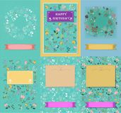 Set of floral cards with banners for texts royalty free stock photos