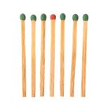 Set of six green and one red wooden matches Stock Photos