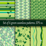 Set of six green seamless patterns. Royalty Free Stock Images