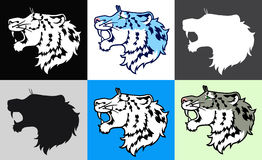 Set six growling snow leopard in a profile Stock Photos