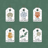 Set of six grunge gift tags for Halloween. Happy Halloween caption. Holiday design template for festive sticker, label, banner, invitation, postcard, card Stock Photo