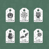 Set of six grunge gift tags for Halloween. Happy Halloween caption. Holiday design template for festive sticker, label, banner, invitation, postcard, card Stock Photography