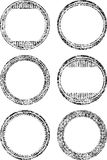 Set of six grunge style templates for rubber stamps Royalty Free Stock Photography