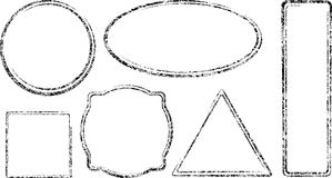 Set of six grunge vector templates for rubber stamps Stock Photography