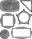 Set of six grunge vector templates for rubber stamps.  vector illustration