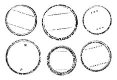 Set of six grunge vector templates for rubber stamps Royalty Free Stock Photo