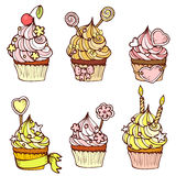 Six hand drawn cupcakes Stock Image