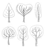 Set of six hand - drawn trees Stock Images