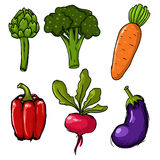 Set of six hand drawn vegetables Stock Photos