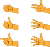 Set of six hand gestures Royalty Free Stock Images