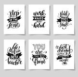 Set of six hand written lettering positive inspirational quote Royalty Free Stock Photos