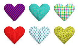 A set of six hearts of different texture: striped; with a print. A set of six hearts made of cloth: blue in red stripes; turquoise with circles of salmon color Royalty Free Stock Photos