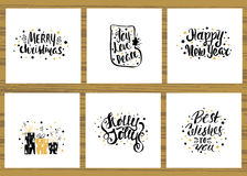 Set of six holidays greeting card with unique handwritten lettering. Christmas cards collection. Vector Illustration. Royalty Free Stock Photos