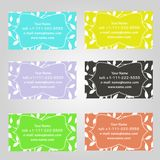 Set of six horizontal business cards in different colors. Vintage pattern with leaves. Complied with the standard sizes. vector illustration