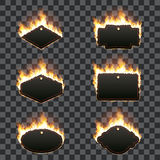Set of six horizontal frames surrounded with flame. Set of six horizontal frames of different shapes with text space surrounded with realistic flame isolated on Royalty Free Stock Photography