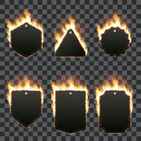 Set of six horizontal frames surrounded with flame. Set of six horizontal frames of different shapes with text space surrounded with realistic flame  on Royalty Free Stock Photography