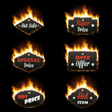 Set of six horizontal frames surrounded with flame. Set of six hot sale horizontal frames of different shapes surrounded with realistic flame isolated on black Stock Image