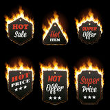 Set of six horizontal frames surrounded with flame. Set of six hot sale horizontal frames of different shapes surrounded with realistic flame isolated on black Royalty Free Stock Images