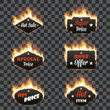 Set of six horizontal frames surrounded with flame. Set of six horizontal hot sale frames of different shapes surrounded with realistic flame isolated on Stock Photo