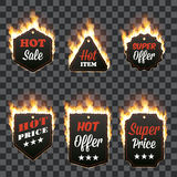 Set of six horizontal frames surrounded with flame. Set of six horizontal hot sale frames of different shapes surrounded with realistic flame  on transparent Royalty Free Stock Photos