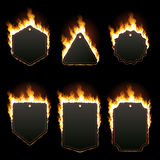 Set of six horizontal frames surrounded with flame. Set of six horizontal frames with text space surrounded with realistic flame isolated on black background Stock Photography