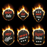 Set of six hot sale frames surrounded with flame. Set of six hot sale frames of different shapes surrounded with realistic flame isolated on black background Stock Photos