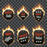 Set of six hot sale frames surrounded with flame. Set of six hot sale frames of different shapes surrounded with realistic flame isolated on transparent Royalty Free Stock Images