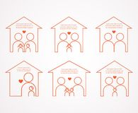 Set of six houses and different families Stock Photos