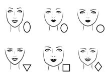 Set of six human face types. Set of six types of human faces with corresponding geometric shapes, vector illustration Stock Photography