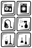Set six icon for housewife home work Stock Photos