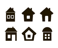 Set of six icons house black Royalty Free Stock Image
