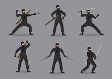 Japanese Ninja with Weapons Vector Characters. Set of six  illustration of Japanese ninja in black suit and mask holding different weapons. Cartoon characters Royalty Free Stock Photo