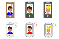 Set of six  images of tablets and smartphones with cartoon faces of people, flat icons Stock Photo