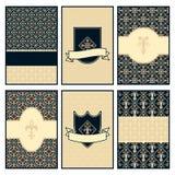 Set of six royal stylished cards Royalty Free Stock Photos