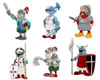 Set of six knights. Vector illustration of set of six knights Stock Image