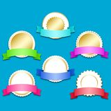 Set of six label stickers with award ribbons. Vector llustration EPS10 Stock Photo