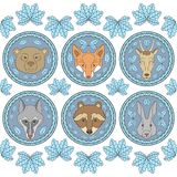 Set of six labels with muzzles of animals Royalty Free Stock Photo