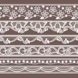 Set of six lace ribbons horizontal seamless patterns. Vector needlework illustrations stock illustration