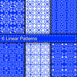 Set of six linear patterns Stock Photos