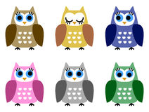 Set of six little owlets Royalty Free Stock Images