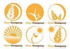 Set six logos farming-agriculture