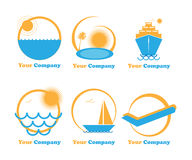 Set six logos travel-holiday-vacation. Illustration of six logos for travel-holiday-vacation isolated on white.EPS file available Stock Photography