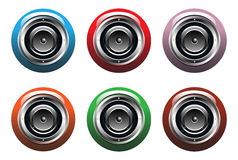 Set of six loudspeakers Stock Image