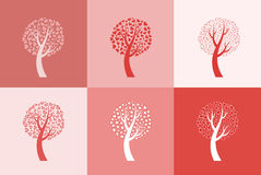 Set of six love trees Stock Photography